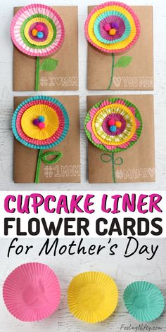 Make these super cute DIY mothers day cards for your mom – she'll love the flowers! Includes funny (puns included) sayings ideas too! Fun & easy handmade / homemade craft for all ages: for kids, for teens and for toddlers and even for adults! Easy Mother's Day Crafts, Crafts For Teens To Make, Mothers Day Crafts For Kids, Adult Crafts, Kids Crafts, Craft Kids, Mothers Day Cards Craft, Simple Crafts, Creative Crafts