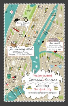 A custom wedding map is essential for your wedding invitation suite or as a drop off in your guests' hotel room! Your guests will always know where