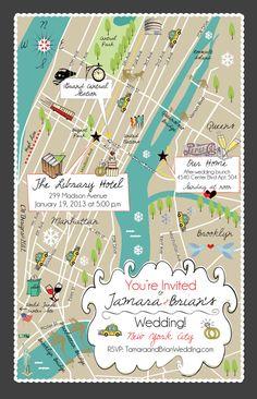 CW Designs NYC Wedding Map Invitation!