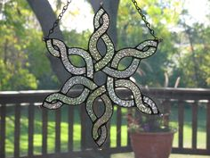 Sparkling Celtic Stained Glass Snowflake 2 by PrismStainedGlass, $35.00