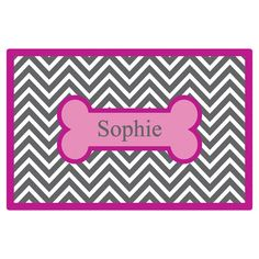 Personalized laminated placemat with a chevron motif.  Product: PlacematConstruction Material: LaminateCo...