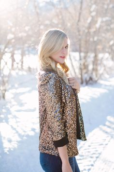 { Gold Sequin Blazer }