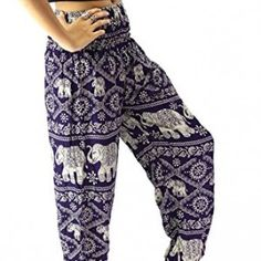 BANGKOKPANTS WOMEN'S #YOGA PANTS #BOHO #ELEPHANT DESIGN PURPLE PLUS SIZE US 16-22