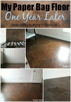 Diy stained brown paper floor awesomeness under 30 do it yourself my paper bag floors one year later solutioingenieria Images