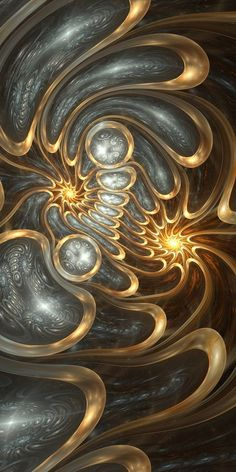 Fractals - Precious Reflections - By Trente Fractal Design, Fractal Art, Psy Art, Acrylic Pouring Art, Pour Painting, Art Abstrait, Grey And Gold, Deviantart, Art Plastique