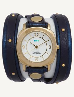 La Mer Watches: Navy Shimmer-Gold Stud Odyssey Layer Wrap