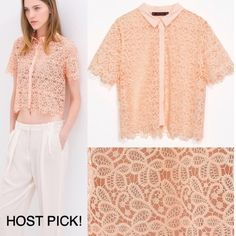 ❤️HOST PICK!❤️ Zara Lace Top Lace top by Zara that has only been worn once - in brand new condition.    ✔️Shipped ASAP  ✔️Surprise present included  ✔️Bundles ❌PayPal ❌Trades Zara Tops