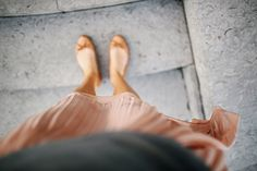 Soft chiffon skirt & tan ballet flats