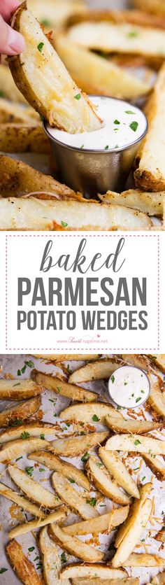 Baked parmesan potato wedges -crispy, salty and tender on the inside. So easy to make and are sure to be a crowd pleaser!