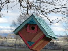 Birdhouse Handcrafted Rustic Cedar Hanging by 3FeatheredFriends on Etsy