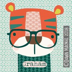 Tiger Art, Birthday Wishes, Birthday Cards, Cute Illustration, Illustrations, Animals For Kids, Kids And Parenting, Baby Quilts, Lions