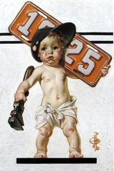 J.C. Leyendecker. New Year's Baby 1925 // I AM A CHILD (children in art history)