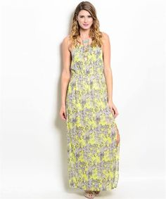 Neon & Grey Floral Maxi - Beth-A-Belle Women's fashion