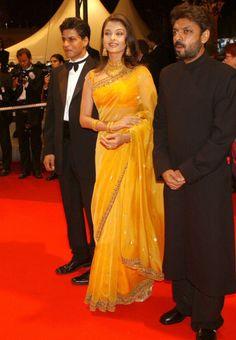 #Aishwarya Rai In Yellow #Bollywood_Saree at Cannes festival
