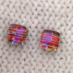 ES 158 Dichroic glass earrings - studs - post earrings - orange and purple by Fired Creations Glass ES 158