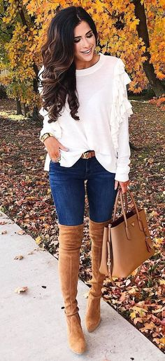 stylish look | white top + skinnies + bag + brown over knee boots