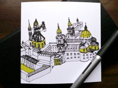 All Occasion Card with Architectural Sketch, Salzburg, Austria