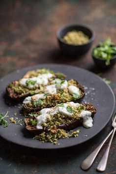 chermoula aubergines with bulgar and yoghurt. Sub out wheat for GF Vegetarian Cooking, Vegetarian Recipes, Savoury Recipes, Dip Recipes, Ottolenghi Recipes, Yotam Ottolenghi, New Flavour, Entrees, Food Photography