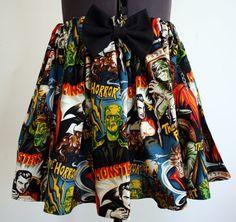 Retro B Movie Monsters Skirt by hellcatmama on Etsy, $32.00