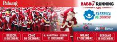 Anche quest'anno torna la #BabboRunning con #FabbricadelSorriso; marcia ufficiale con barba e costume di #SantaClaus. #Brescia, #Como, #MilanoMarittima #Cervia, #Milano, #Bergamo, #R101, #UBIbanca.