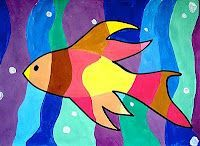 Fish, warm..cool colors. Students draw vertical wavy lines first. Students then draw object on top. Color to make image show.