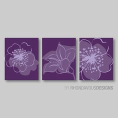 Lavender Purple Flower Print Trio  Home by RhondavousDesigns2