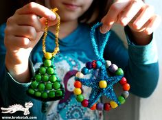 Beaded ornaments in the style of beaded keychains. Pipe cleaners make it easier for younger kids.