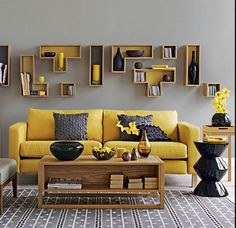 On a gray day or in a dark or small living room, a yellow sofa functions like a ray of sunlight. In larger, brighter spaces, a modern yellow sofa adds a pop of Living Room Color Schemes, Living Room Designs, Living Rooms, Colour Schemes, Living Area, Color Combinations, Living Spaces, Grey And Yellow Living Room, Grey Room