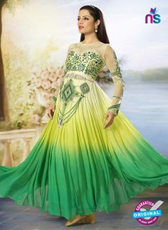 SC 12525 Yellow and Green Embroidered Georgette and Net Wedding Wear Anarkali Suit