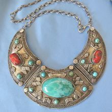 Exceptional Large Sterling Coral Turquoise Ethnic/Tribal Collar Necklace