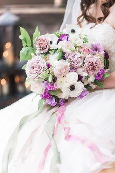 Bella Fiori & B Jones Photography. Bridal bouquet of garden roses, anemones, and sweet peas. Bella Luna Farms, Snohomish, Washington Weddings.