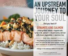 Dynamite King Salmon, topped with lump crab, spinach and mushrooms, is back @Bonefish Grill for a very limited time! Price and product availability may vary by location.