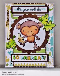 Sketch and Color Challenge 18  More Inspiration - Your Next Stamp - YNS Supplies: Monkey Fun   Olive Green Gumdrops
