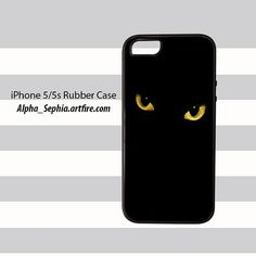 Black Cat Eyes iPhone 5 5s Rubber Case Cover