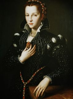 The life of Lucrezia de Medici: http://madameguillotine.org.uk/2013/02/14/lucrezia-de-medici/ IMAGE: Lucrezia de Medici, Bronzino, 1560. Photo: North Carolina Museum of Art. This painting was commissioned by Lucrezia's favourite brother, Francesco before she left Florence for Ferrara.