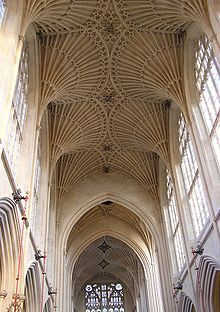 Late Gothic fan vaulting (1608) over teh nave at Bath Abbey, Bath England.