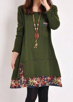 Autumn Winter Olive Green Long Sleeve Swing Tunic Dress With Floral Paneled Trim