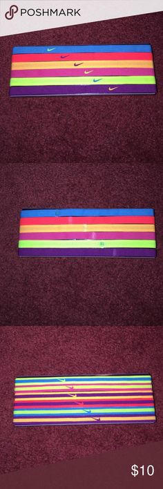 Multicolored Nike Headband (6-pack) Multicolored, Thin, Nike reversible headbands, good fit (not-stretched), fairly new, good condition. Nike Accessories Hair Accessories