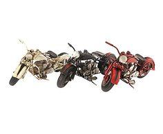 Set de 3 motos de metal decorativas