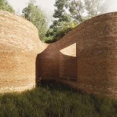From Dezeen -- This curvy brick house for Madison, Wisconsin, is designed by architects Thomas Phifer and Partners to resemble a serpentine garden wall. Detail Architecture, Brick Architecture, Residential Architecture, Contemporary Architecture, Interior Architecture, Landscape Architecture, Brick House Designs, H Design, Archi Design