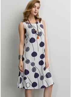 [£ Print Sleeveless Shift Knee Length Casual Dresses - VeryVoga - - Source by gulserend Elegant Dresses, Pretty Dresses, Sexy Dresses, Casual Dresses, Summer Dresses, Formal Dresses, Wedding Dresses, Backless Dresses, Shift Dresses