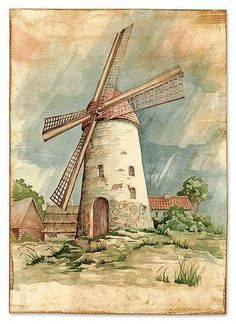 Art, konst, akvarell, original, vintage Windmill Art, Old Windmills, Watercolor Print, Watercolor Illustration, Watercolor Paintings, Colorful Pictures, Art Pictures, Fall Drawings, Watercolor Architecture