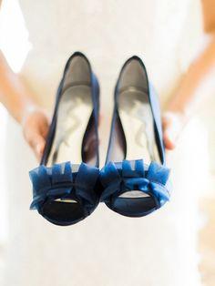 posh navy pump wedding shoes