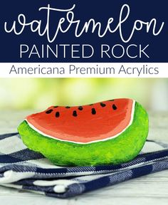 Create this project with Americana® Premium™ Acrylics — Celebrate summer with a painted watermelon rock using Americana Premium!