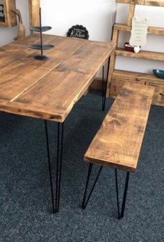 Amazing 6 Ft X 3 Ft RUSTIC TABLE AND BENCH SET   HANDMADE   BLACK HAIR PIN LEGS