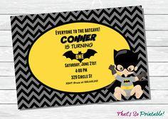 First Birthday Batman Invitation | Babys 1st Birthday Party Invites | Printable Invitations 5x7 This 5x7 BATMAN party invitation is perfect for