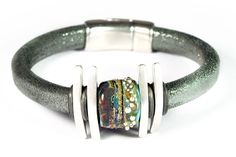 GOTHIC. Regaliz Leather Bracelet with a Lampwork by BirkaDesign, $100.00
