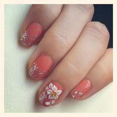 Life's Little Delights: Coral Nail with Acrylic Nail Art