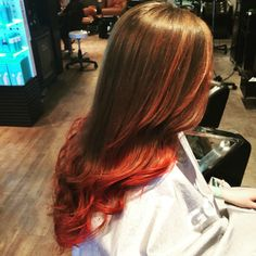 Red ombré halo Salon buffalo