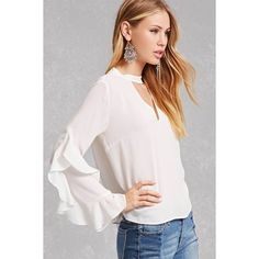 Forever21 Chiffon Cascading Top ($18) ❤ liked on Polyvore featuring tops, white, long sleeve tops, white cut out top, cut out long sleeve top, long sleeve chiffon top and mock neck top